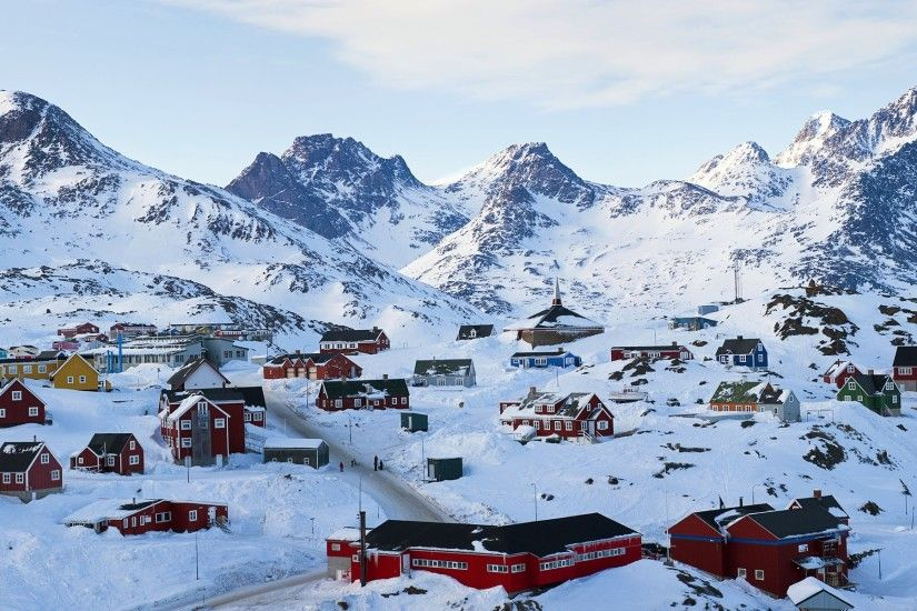 Tasiilaq in winter, Greenland, houses, thick snow Wallpaper Preview