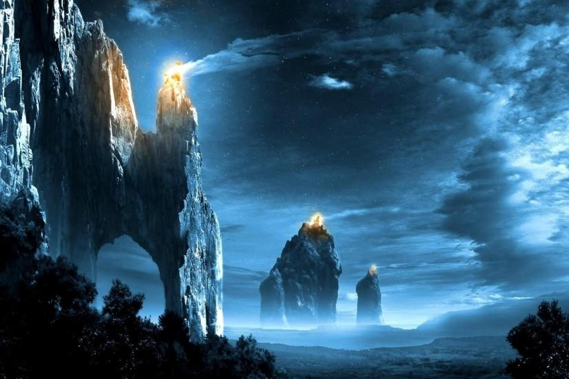 Fantasy art landscapes fire signal lord rings games wallpaper .