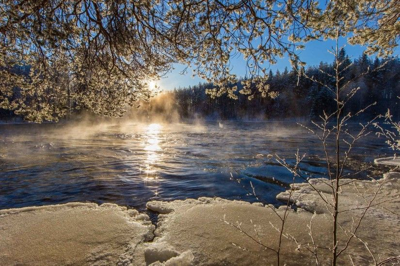 Rivers Finland Nature Ice Branches HD Wallpaper For PC Download