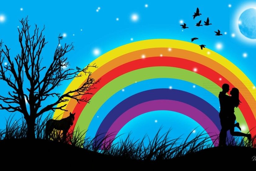 Rainbows - Love Rainbow Firefox Persona Birds Sky Tree Valentines Day Stars  Moon Night Wallpaper Gallery