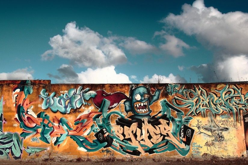 Preview wallpaper graffiti, wall, city, colorful 3840x2160