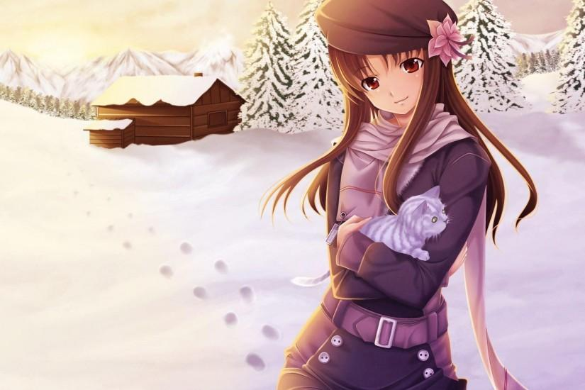 Anime Girl Winter Snow HD Wallpaper