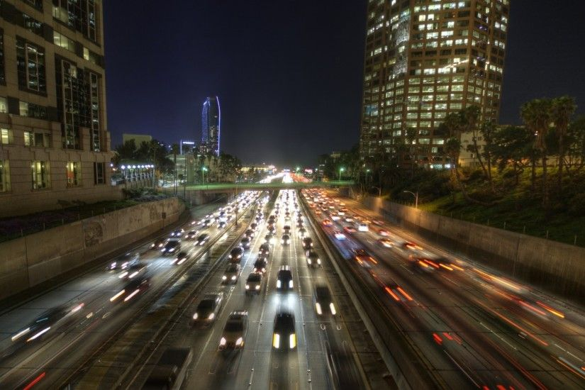 1920x1080 Wallpaper los angeles, city, usa, california, road, stream, cars