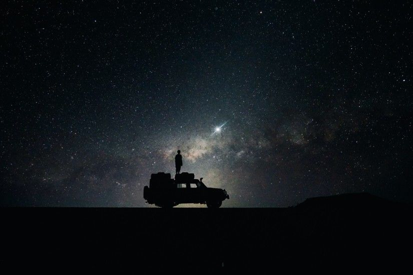 Preview wallpaper stars, sky, space, car 1920x1080