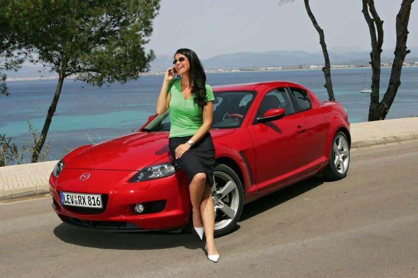 Red Mazda with girl HD Wallpaper 2013