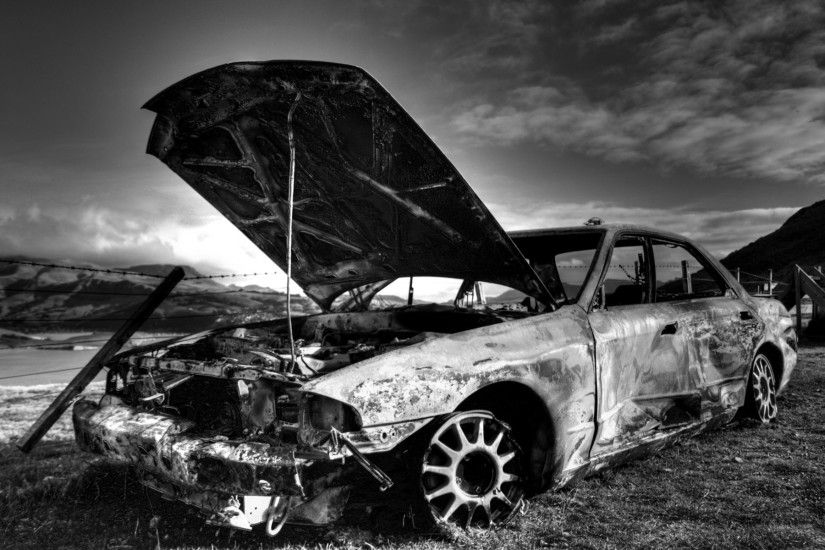 cool black and white backgrounds car wreckage opened outdoor
