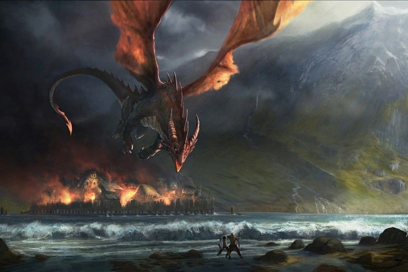 Smaug, Digital art, Sea, Dragon, The Hobbit: The Desolation of Smaug