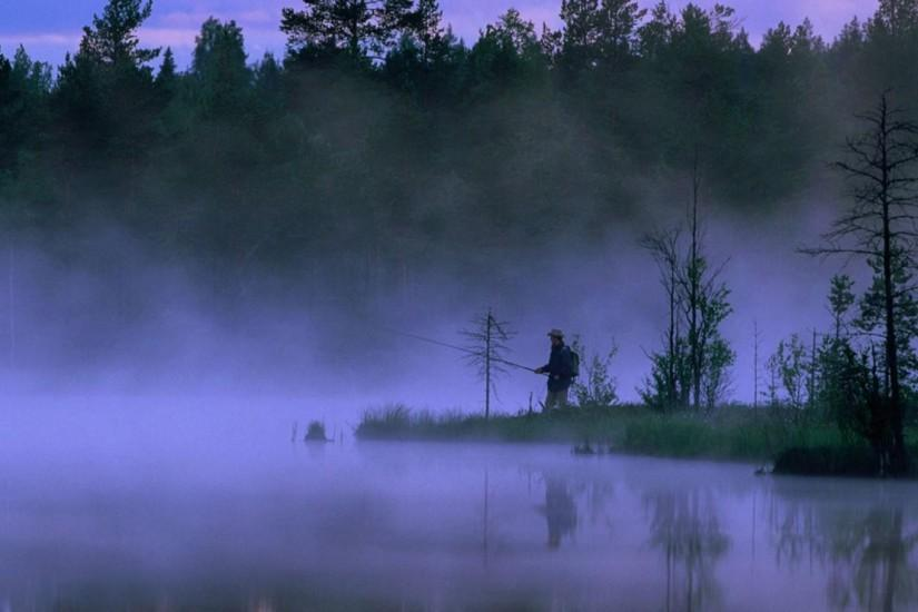 Fishing at dawn in sweden backgrounds.