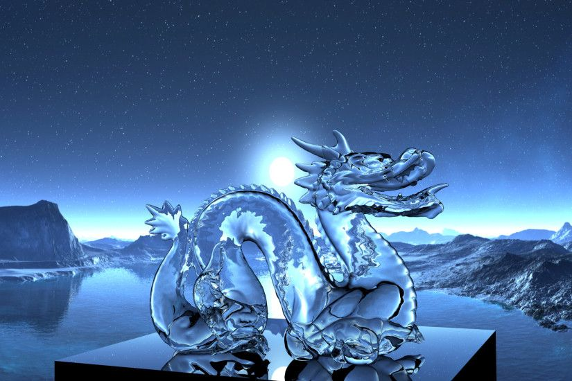 dragon, 3D, Refraction, Night Wallpaper HD