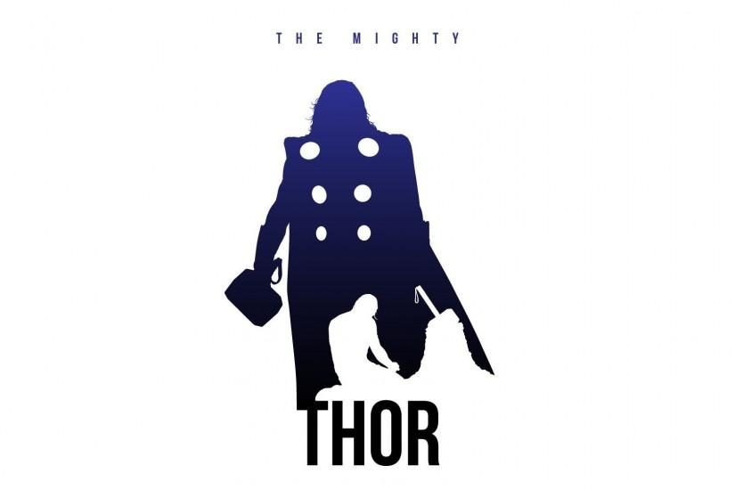 Fan Art Marvel Comics Minimalistic Posters Silhouettes The Avengers Thor  White Background Wallpaper