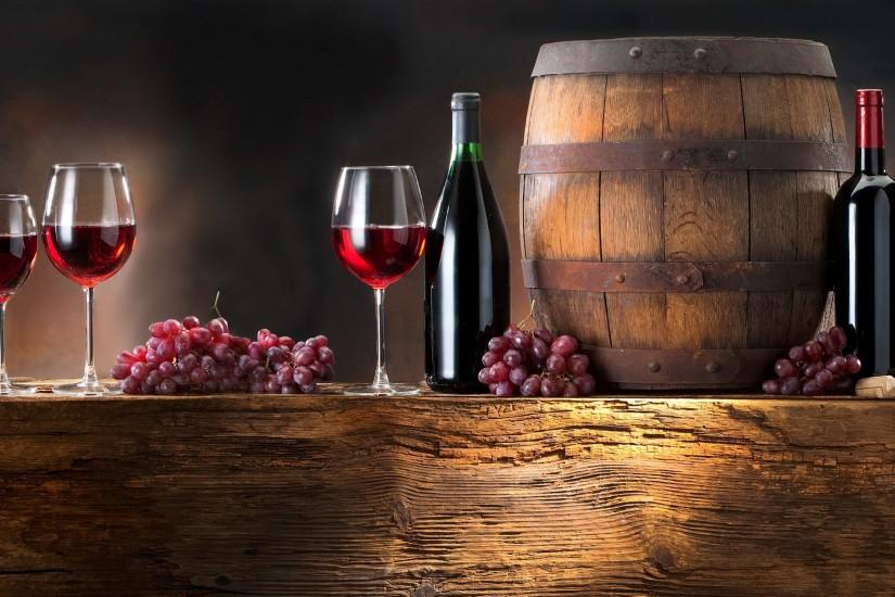 3840x2160 Wallpaper wine, grapes, barrel