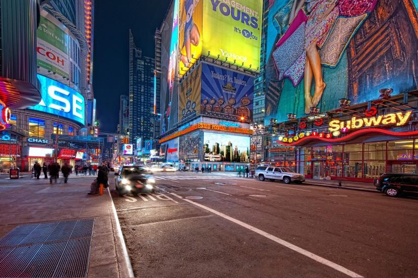 2560x1600 Wallpaper new york, night, street, people, traffic