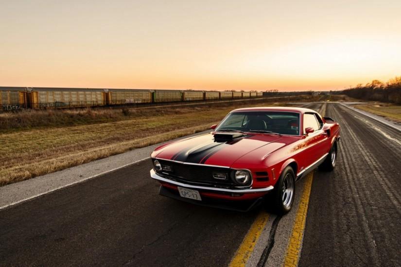 Preview wallpaper ford, mustang, 1970, red, side view 1920x1080