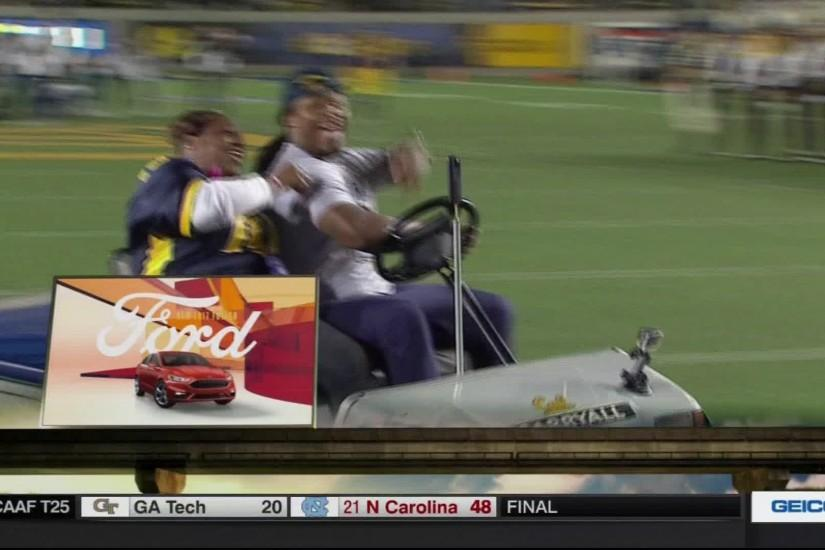 Marshawn Lynch recreated his famous injury cart ride and nearly ran over a  band member