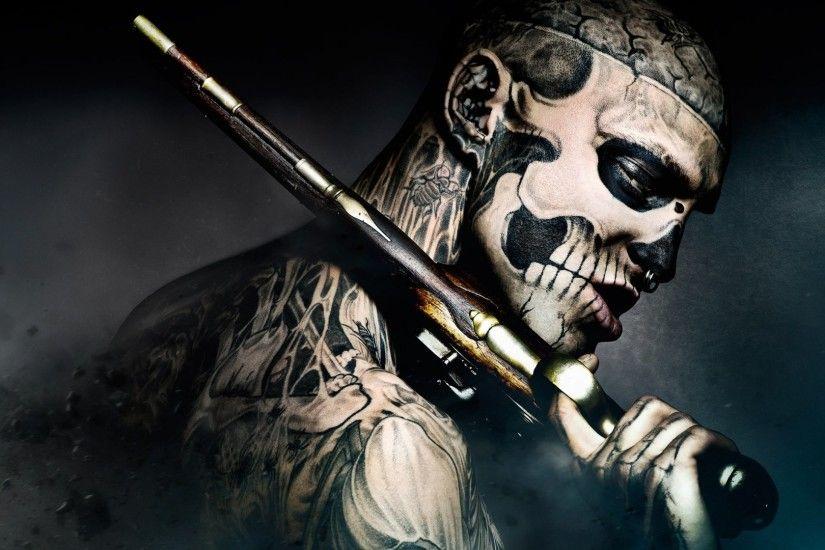 Tattooed Body – Freak-gun tattoo-skull Wallpaper At Dark Wallpapers