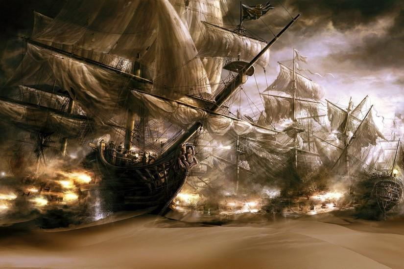 Pirate ships in the desert sand Wallpaper #