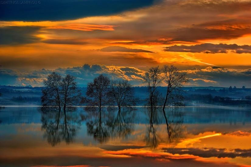 landscape sunset sky clouds lake trees reflection Greece wallpaper