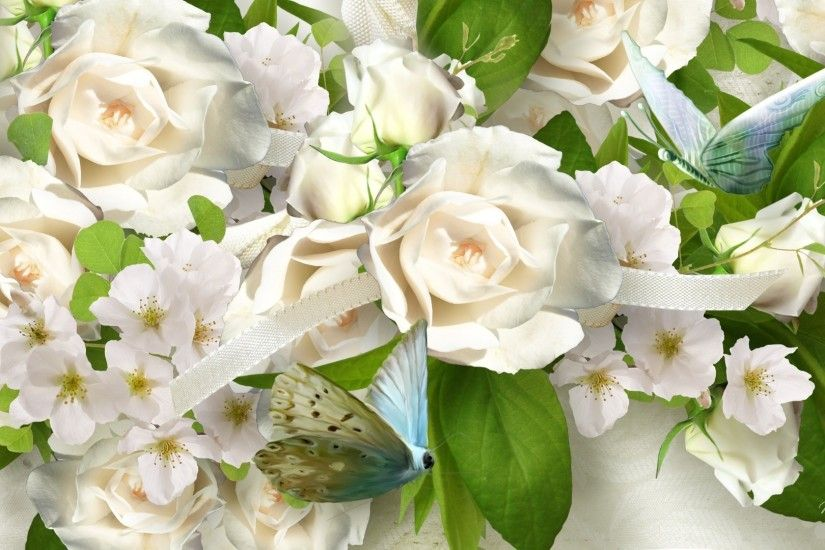Apple Tag - White Roses Butterflies Flowers Ribbon Summer Apple Blossoms  Wedding Regal Nice Flower Hd