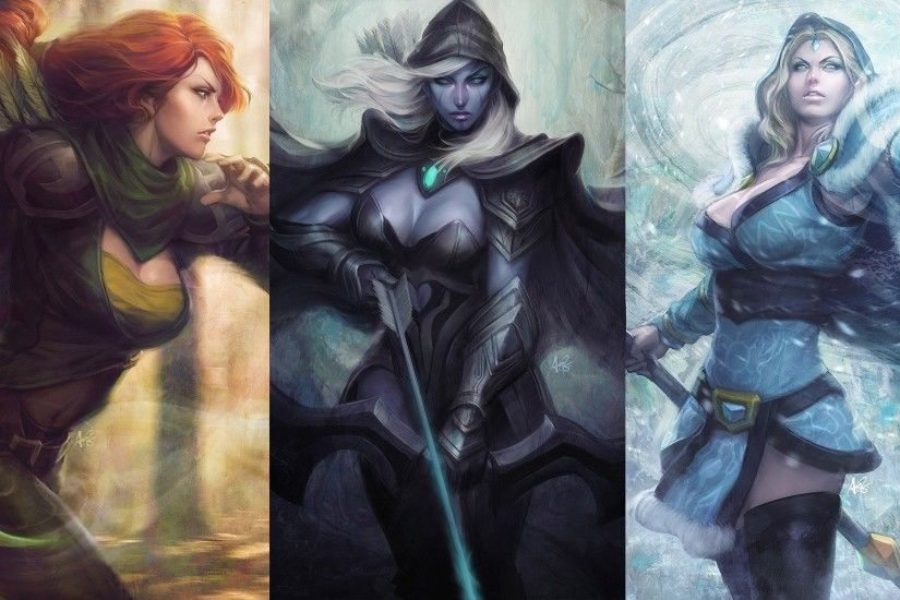 Artgerm Collage Crystal Maiden DotA 2 Drow Ranger Fantasy Art Windrunner