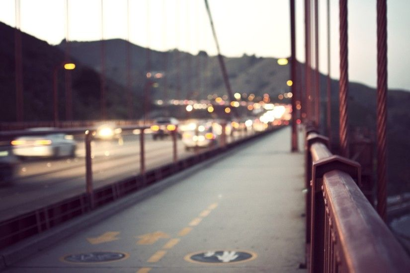3840x2160 Wallpaper city, bridge, rail, fog, blurred, glare, cars,