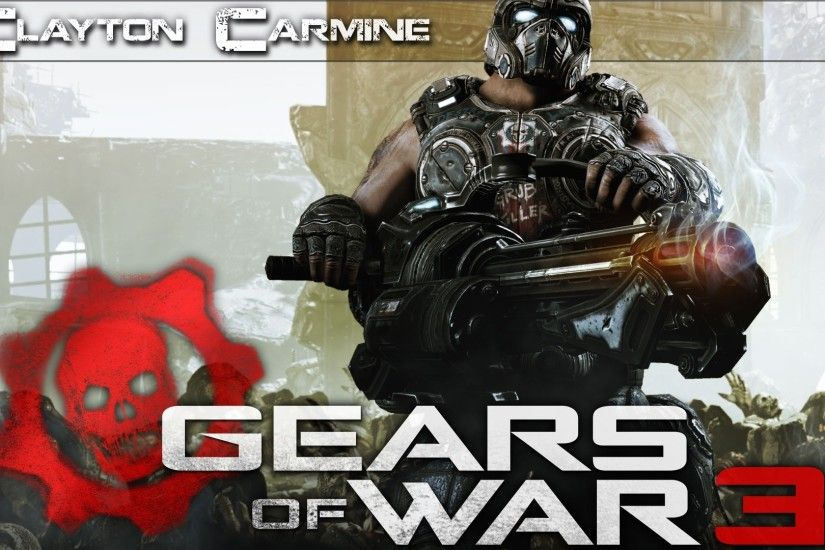 1920x1080 Wallpaper gears of war 3, clayton carmine, gun, skull, helmet