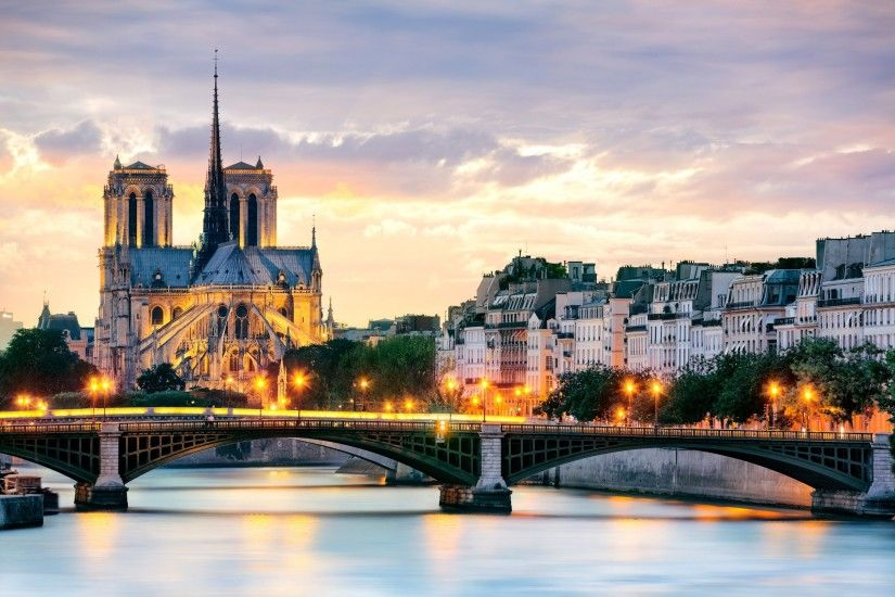 Wallpaper Notre Dame Cathedral, Seine, France, lighting, Paris, roofs,  city, evening, buildings, river, bridge, houses, trees, lights » City,  nature, ...