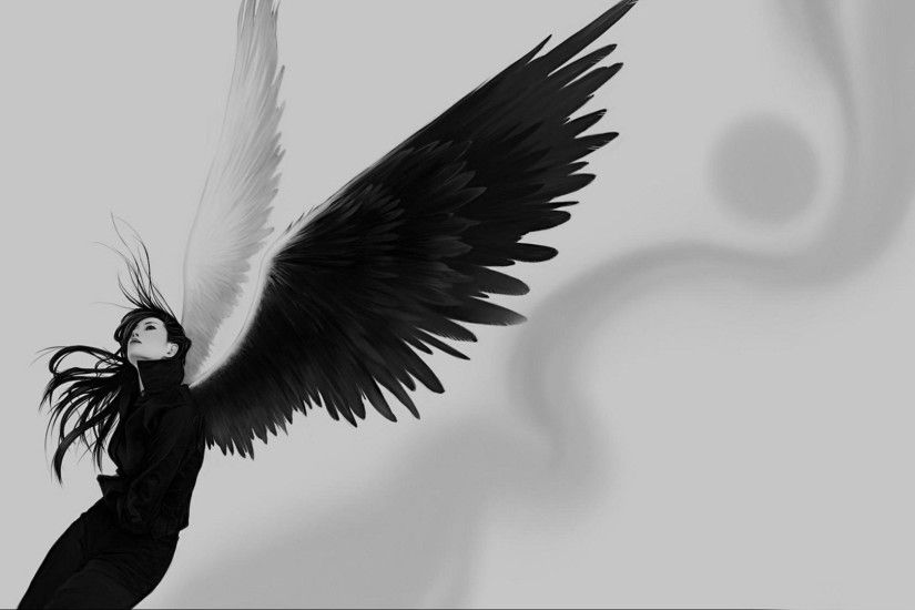 Preview wallpaper angel, wings, white, black, girl 1920x1080