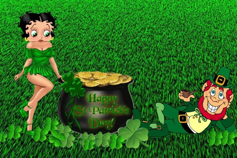 Betty Boop Wishes You Happy Saint Patrick's Day HD Wallpaper
