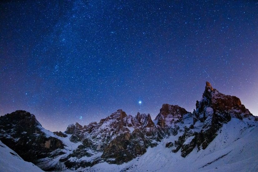 night landscape mountain star sky constellation