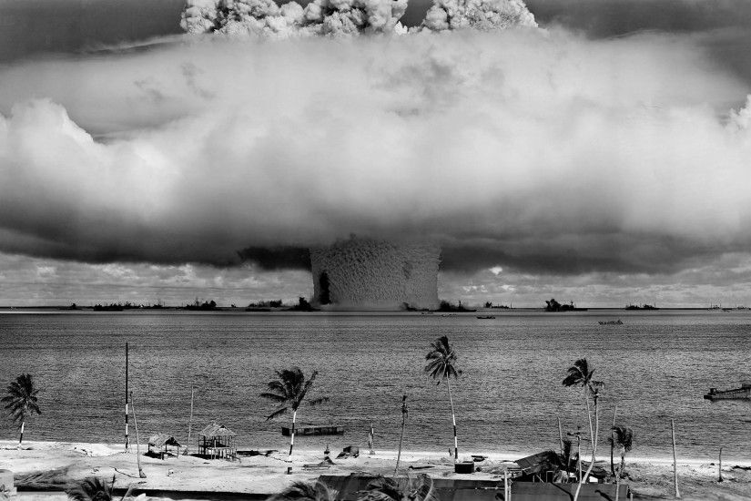 monochrome sea photography atomic bomb mushroom clouds cloud weather wave  2560x1440 px atmospheric phenomenon atmosphere of