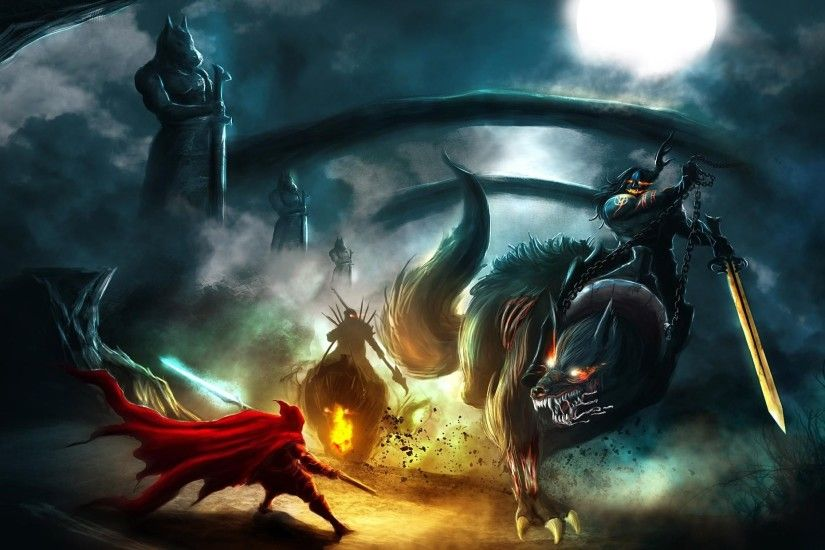 2067x1240 Wallpaper creatures, monsters, battle, full moon, night