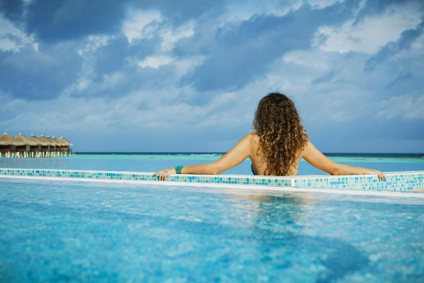 maldives the maldives island pool ocean girl background wallpaper  widescreen full screen widescreen hd wallpapers background
