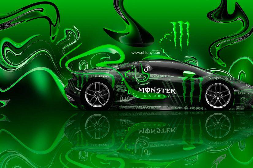Monster Energy Lamborghini Huracan Side Super Plastic Car
