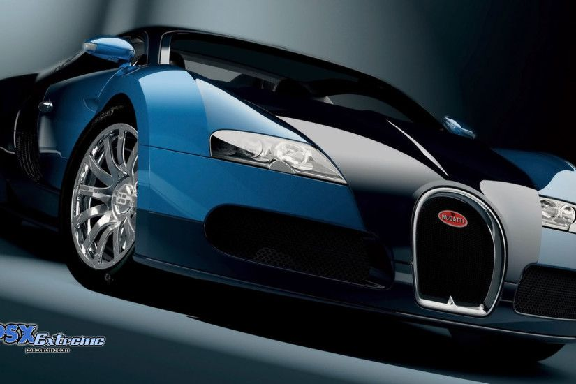 Bugatti Veyron Blue & Black Car HD Wallpaper