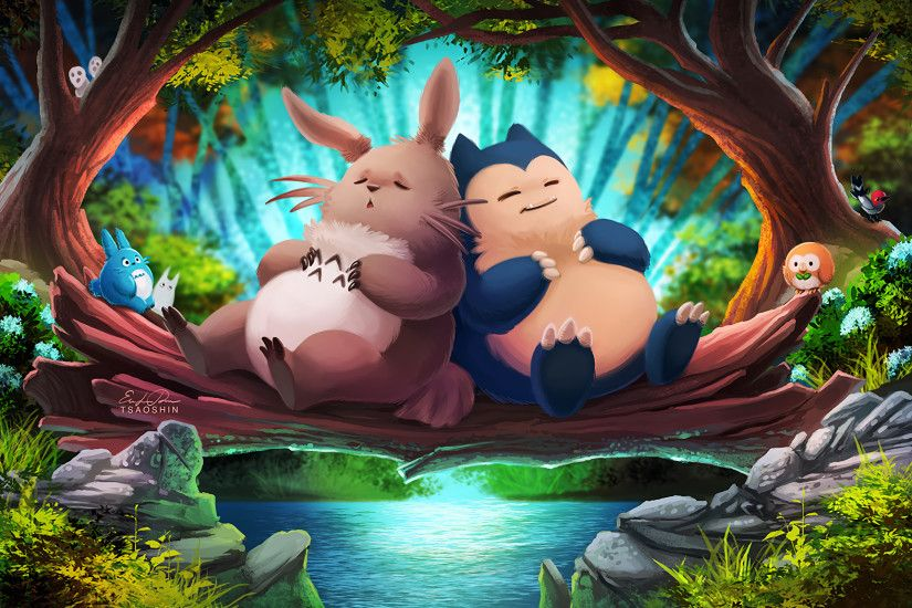 Movie - Crossover My Neighbor Totoro Totoro (My Neighbor Totoro) Sleeping  Pokémon Rowlet (