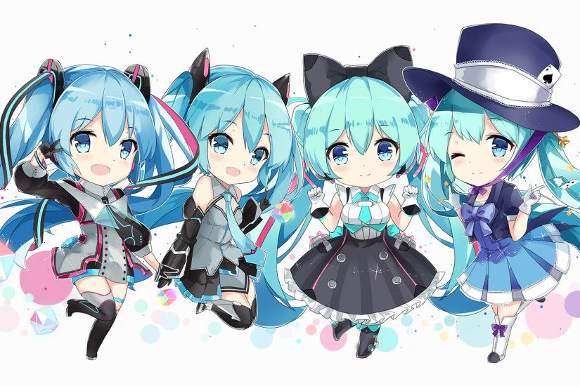 Hatsune Miku, Chibi Version, Dress, Vocaloid, Hat, Twintails, Cute