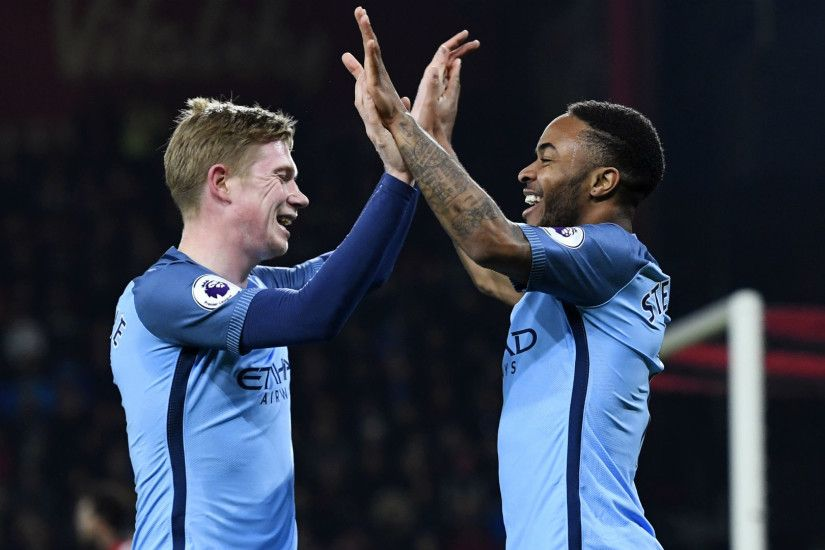 Bournemouth Manchester City Sterling De Bruyne. ""