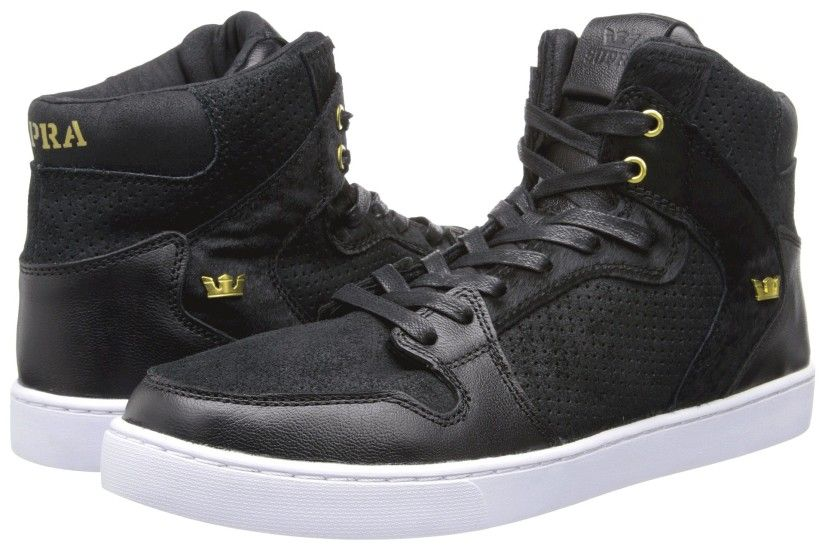 Black/Gold/White Supra Vaider LX Shoes For sale,supra high tops,
