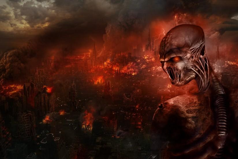 Dark - Creepy Cyborg Demon Fire Destruction Apocalypse Wallpaper