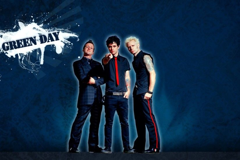1920x1080 Wallpaper green day, spot, band, finger, tie