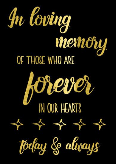 Gold Engagement Sign 'In loving memory' - 'Midnight' range