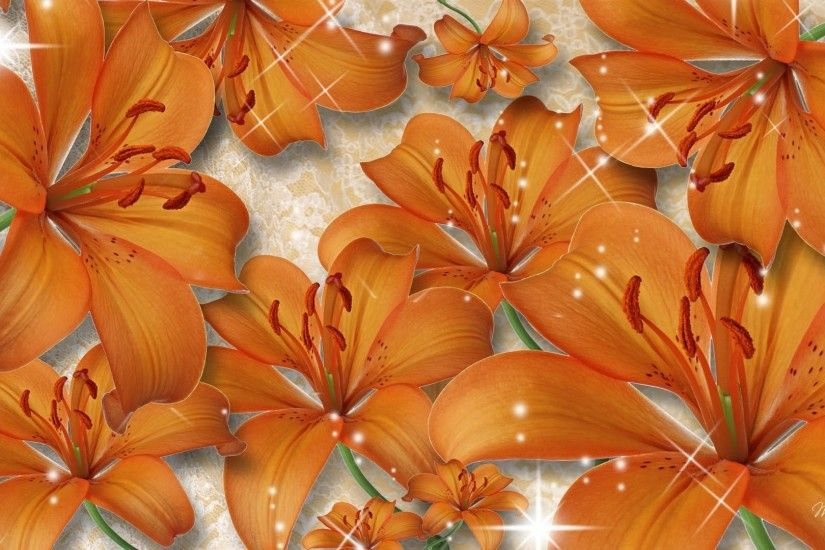 Tiger Tag - Tiger Lilies Flowers Firefox Persona Orange Sparkles Floral Lily  Summer Lilys Desktop Wallpaper