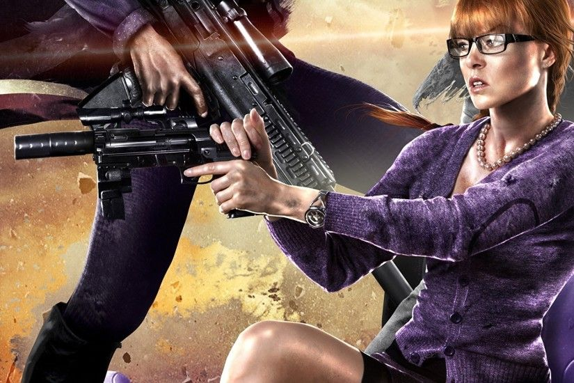 Wallpaper Saints Row Pistols Warriors Girls Games Glasses 2048x1152  eyeglasses