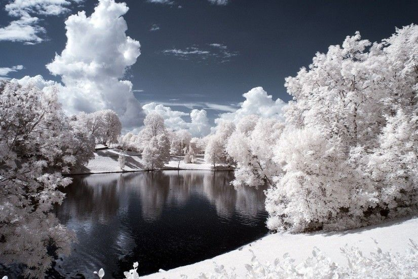 Snow-Covered Trees & Pond HD Wallpaper. « »