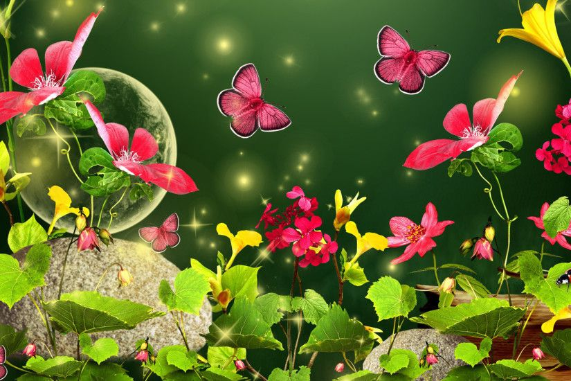Fireflies and butterflies in the meadow wallpaper
