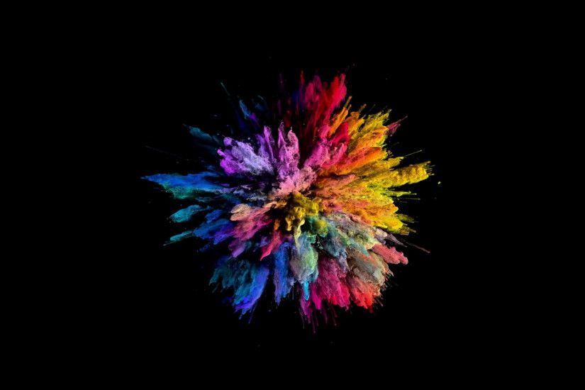 Cg animation of color powder explosion on black background. Slow motion  movement with acceleration in the beginning. Has alpha matte Motion  Background - ...