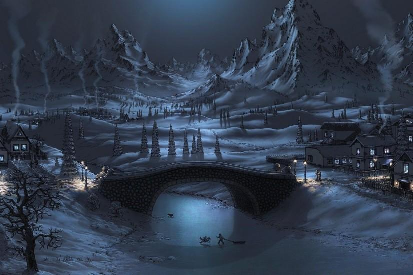 Wallpapertags - Winter Night HD Tablet Smartphone Wallpaper #