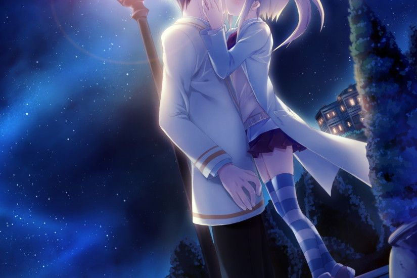 Celestial Night - Tap to see more cute Anime love wallpapers! | @mobile9