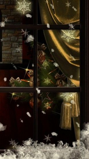 1080x1920 Wallpaper window, fireplace, candles, christmas tree, cozy,  christmas