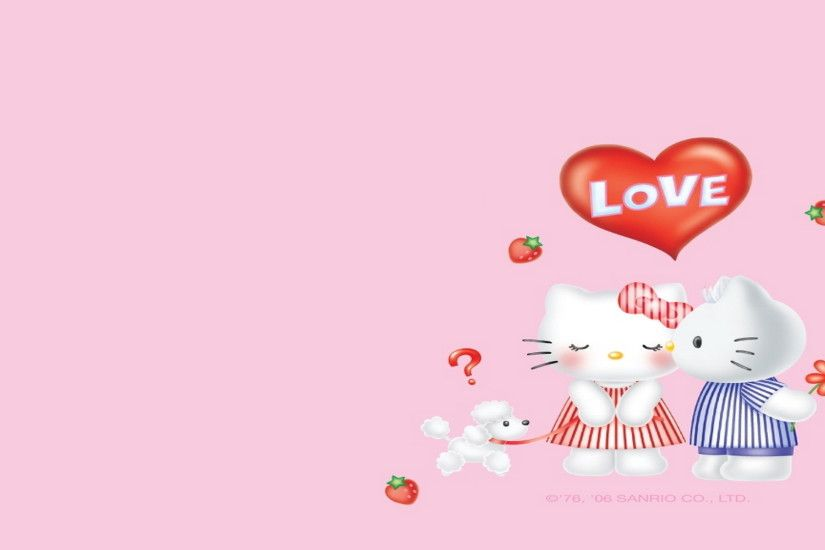 Text, Hello Kitty, Pink, Illustration, Heart Wallpaper in 1920x1080  Resolution